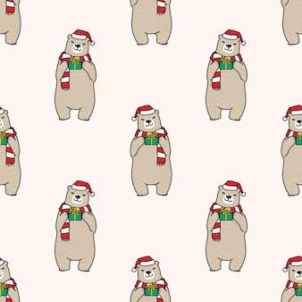 Ours polaire modèle sans couture noël père noël illustration
