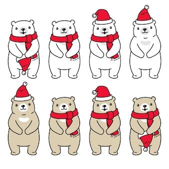 Ours polaire noël père noël chapeau écharpe illustration