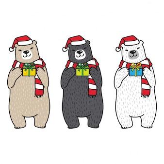 Ours polaire noël santa claus chapeau bande dessinée boîte de cadeau