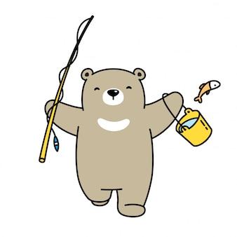 Ours polaire pêche dessin animé