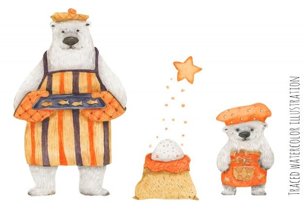Ours polaire père et fils préparant des biscuits de poisson
