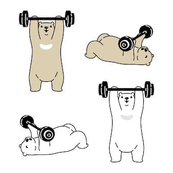 Ours polaire personnage de dessin animé haltère gym formation sport