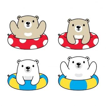 Ours polaire personnage de dessin animé piscine piscine anneau