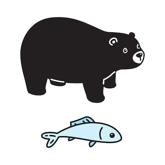 Ours polaire personnage de dessin animé poisson saumon