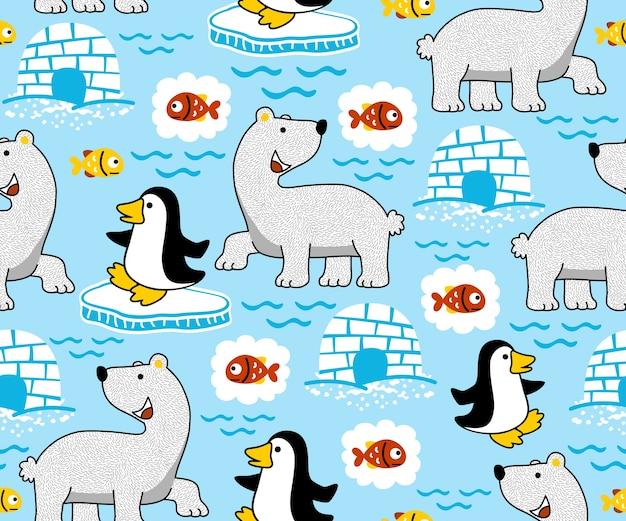 Ours polaire pingouin poisson igloo