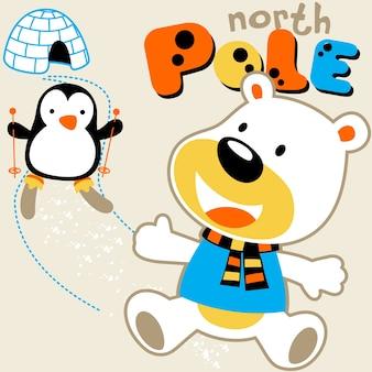 Ours polaire et pingouin