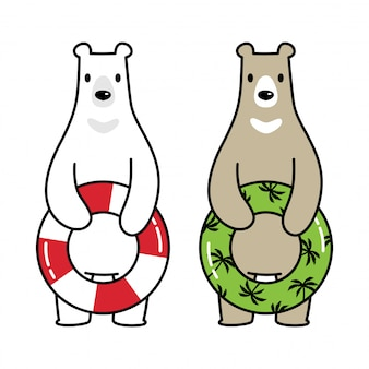 Ours polaire piscine anneau dessin animé