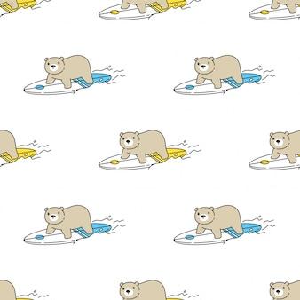 Ours, polaire, seamless, modèle, planche surf, dessin animé