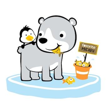 Ours polaire et temps de repas pingouin, vecteur de dessin animé