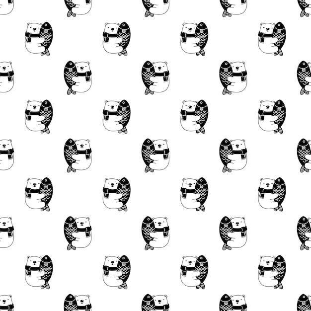 Ours polaire transparente motif poisson teddy cartoon caractère