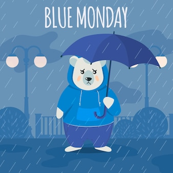 Ours polaire triste le lundi bleu