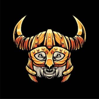 Ours polaire viking illustration, style cartoon moderne adapté aux t-shirts ou aux produits imprimés