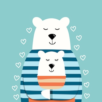 Ours polaires mignons en pulls