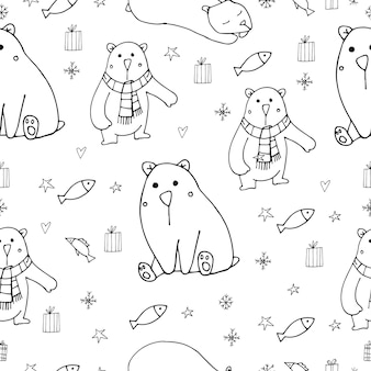 Ours polaires mignons vector illustration modèle sans couture sur fond blanc doodle caractères hiver