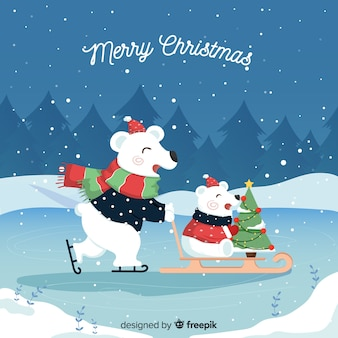 Ours polaires sur un traîneau