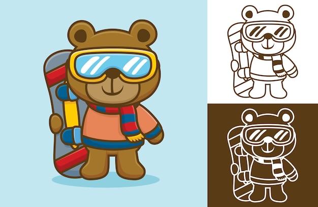 Ours portant des vêtements chauds et du verre tout en tenant le snowboard. illustration de dessin animé dans le style d'icône plate