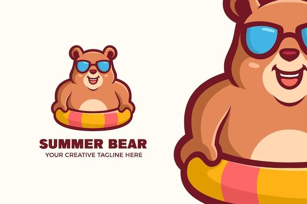 Ours porter des lunettes et bouée modèle de logo de mascotte d'été