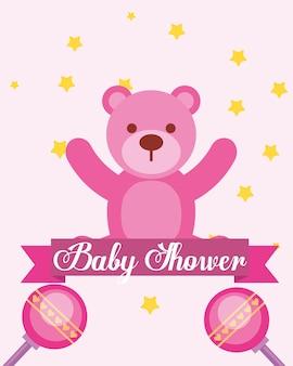 Ours rose jouet hochets bébé douche carte d'invitation