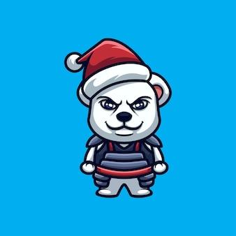 Ours samurai personnage de dessin animé de noël créatif