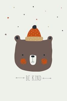 Ours scandinave mignon illustration dessinée à la main. illustration d'ours dans un style nordique