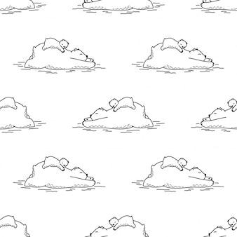 Ours, seamless, modèle, polaire, dormir, dessin animé