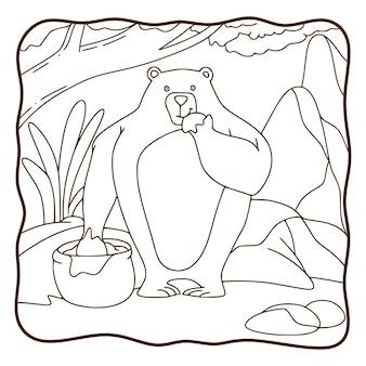 Ours de soleil d'illustration de dessin animé mangeant un livre de coloriage de miel ou une page pour des enfants en noir et blanc