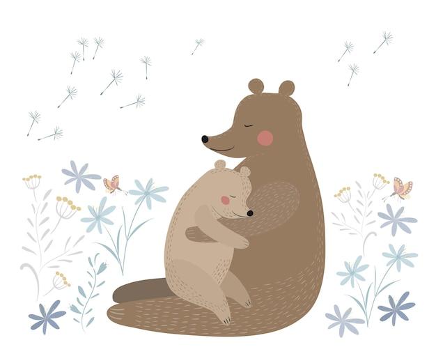 Ours avec son petit en fleurs ours mignon avec bébé