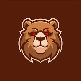 Ours tête d'animal dessin animé logo modèle illustration esport logo jeu premium vecteur