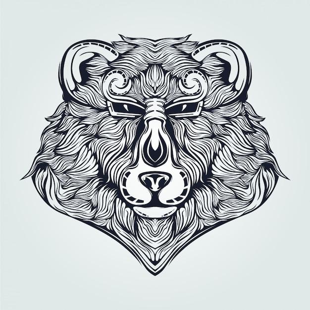 Ours tête dessin au trait de couleur bleu foncé