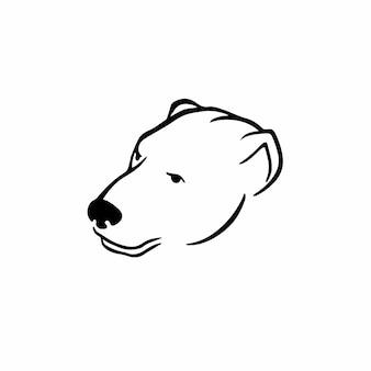 Ours tête logo symbole conception pochoir tatouage illustration vectorielle