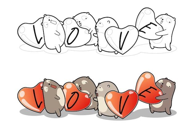 Les ours tiennent la page de coloriage de dessin animé de coeurs pour les enfants