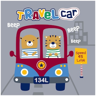 Ours et tigre sur le dessin animé animal drôle de voiture, illustration