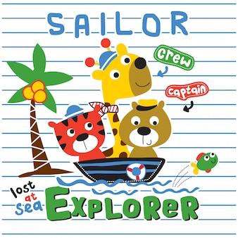 Ours, tigre et girafe le marin drôle de bande dessinée animale, illustration
