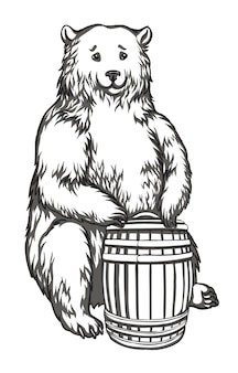Ours avec un tonneau dessin noir et blanc pour broderie gravure impression sur tissu