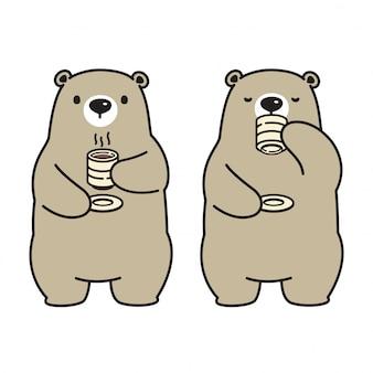 Ours vecteur personnage de dessin animé boire boire café thé
