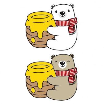 Ours vecteur personnage de dessin animé polar bear honey bee