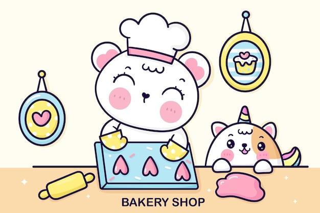 Ourson de dessin animé avec un chat licorne personnage de chef mignon cuire un gâteau danniversaire animal kawaii