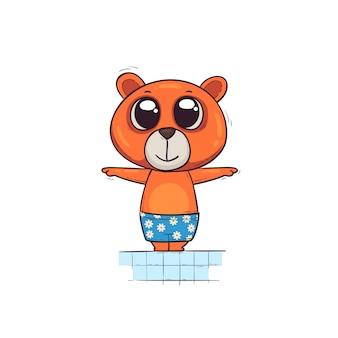 Un ourson mignon est debout dans la piscine