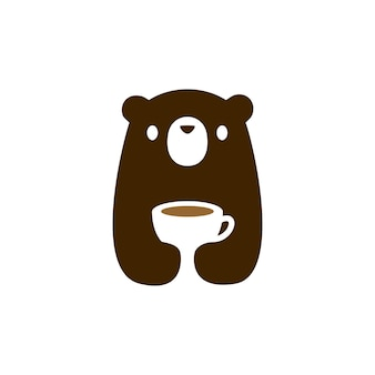 Ourson tasse café thé boisson logo icône illustration