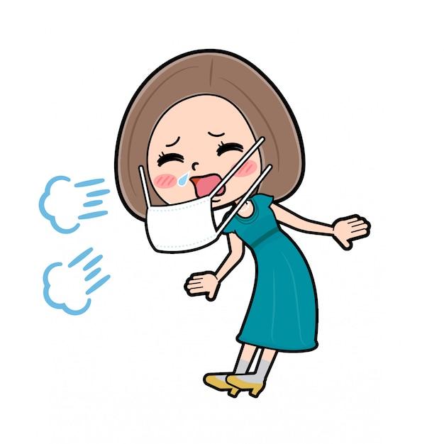 Out line bob hair dress women_sneezing