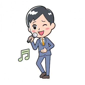 Out line businessman song singing