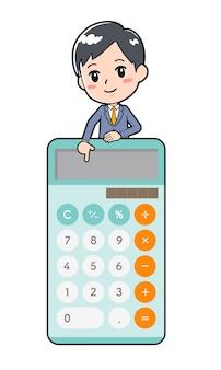 Out line calculatrice d'homme d'affaires vers le bas