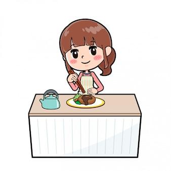 Out line tablier maman cuisiner empiler
