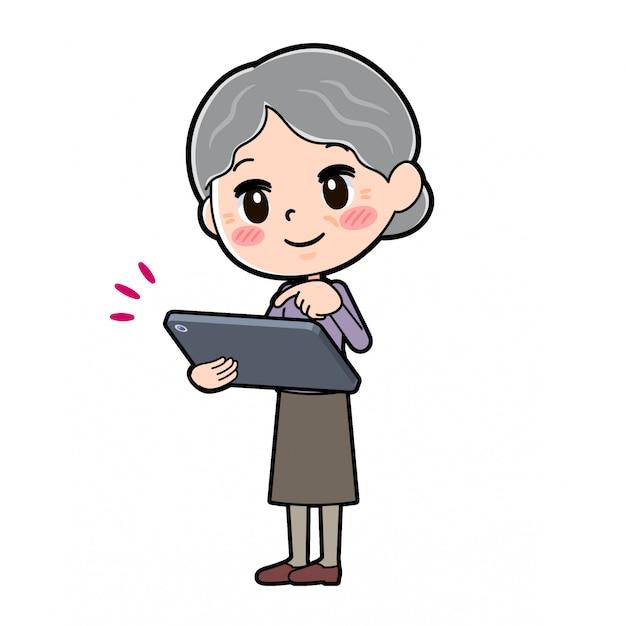 Out line violet usure grand-mère tablette tactile