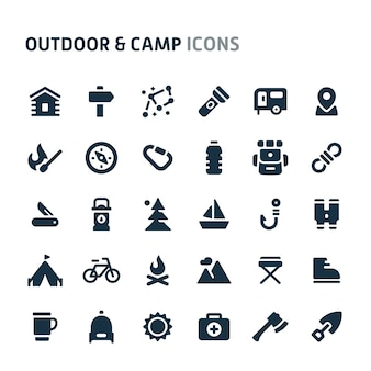 Outdoor & camp icon set. série d'icônes fillio black.
