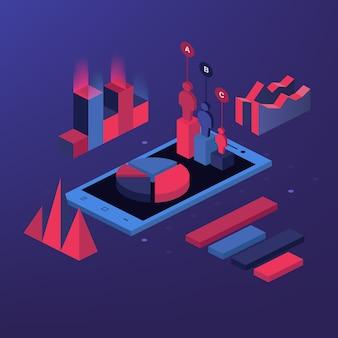 Outil d'analyse de rapport mobile app plat 3d isométrie