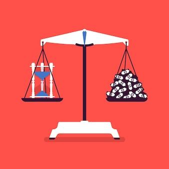 Outil de balances de temps et d'argent bon équilibre