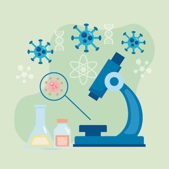 Outil de laboratoire de microscope avec recherche sur le vaccin contre les particules covid19