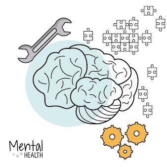 Outil de puzzle d'engrenage cérébral de santé mentale