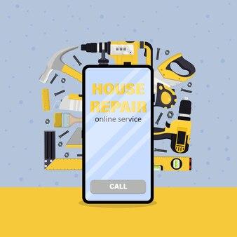Outil de réparation de maison au téléphone. un service en ligne. illustration vectorielle.